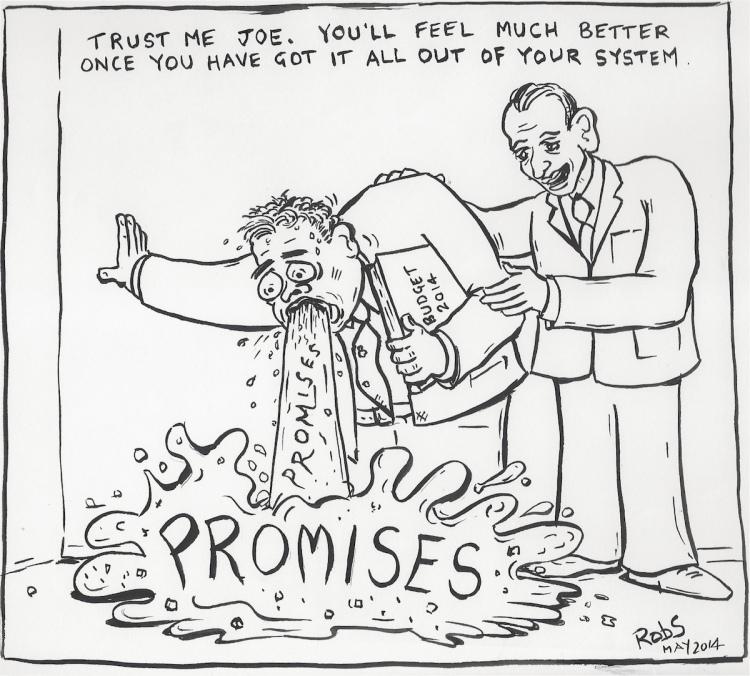 Federal Treasurer Joe Hockey and Prime Minister Tony Abbott shamelessly purge their pre-election promises.